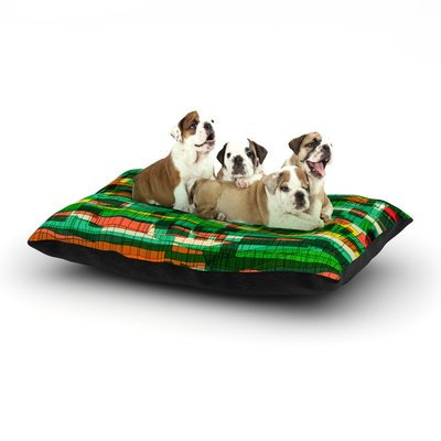 East Urban Home Frederic Levy-Hadida 'Squares Traffic' Dog Pillow with Fleece Cozy Top Color: Green, Size: Large (50