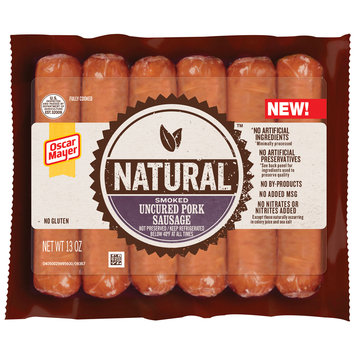 Oscar Mayer Natural Smoked Uncured Pork Sausage 6 ct Pack
