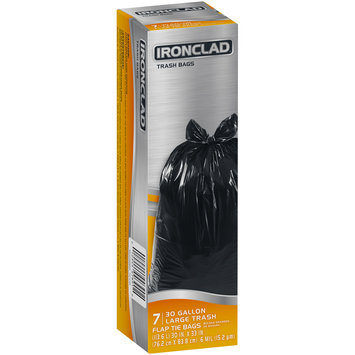 Ironclad® 30 Gallon Large Flap Tie Trash Bags 7 ct Box