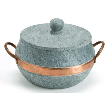 Vivaterra Brazilian Soapstone Round Lidded Pot - Large