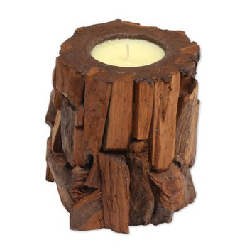 Novica Earthen Flame Wood Votive Candle