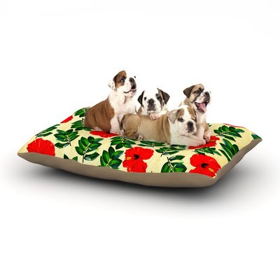 East Urban Home Sreetama Ray 'No More Peonies' Dog Pillow with Fleece Cozy Top Size: Large (50