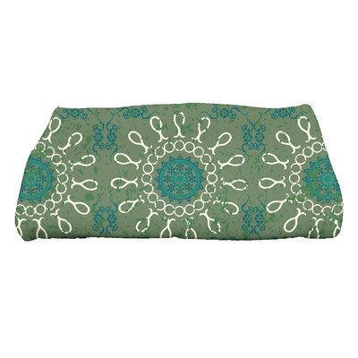 Bungalow Rose Soluri Sun Tile Geometric Print Bath Towel Color: Green