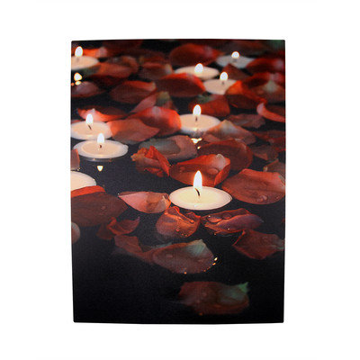 The Holiday Aisle '5 LED Lighted Garden Party Candles with Rose Petals' Photographic Art Canvas