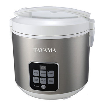 Tayama 10-Cup Digital Rice Cooker and Food Steamer Finish: White