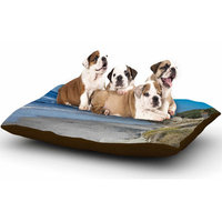 East Urban Home Nick Nareshni 'Swamis Beach Coast' Coastal Dog Pillow with Fleece Cozy Top