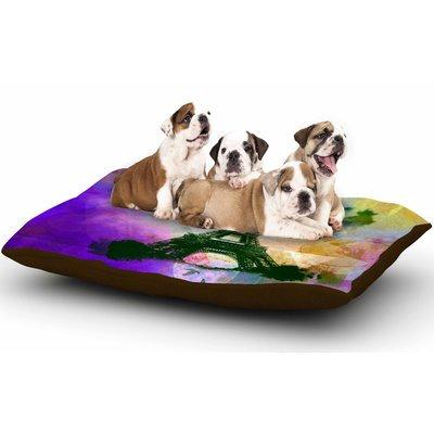 East Urban Home AlyZen Moonshadow 'Eiffel Tower (Purple)' Travel Dog Pillow with Fleece Cozy Top