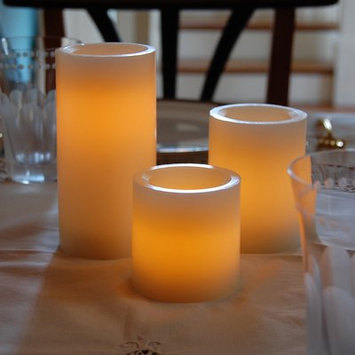 Beachcrest Home Wax LED 3 Piece Round Candle Set with Remote Control