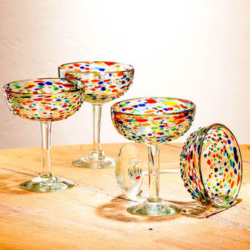Vivaterra Handblown Rainbow Confetti Recycled 18 Oz. Margarita Glass