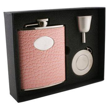 Visol Annabella Light Pink Snake-Skin Leatherette 6oz Stellar Flask Gift Set