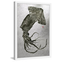 Marmont Hill Inc Marmont Hill - 'Giant Squid' by Dwight Hwang Framed Painting Print