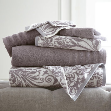 House Of Hampton Filigree Swirl 6 Piece Towel Set Color: Ash Gray