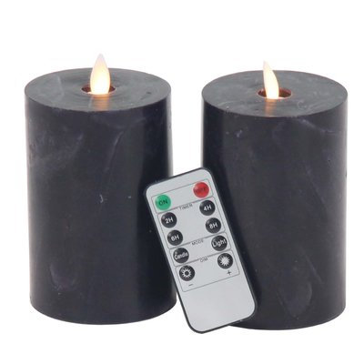 17 Stories 2 Piece Modern Cylindrical LED Flicker Flameless Candle Set Color: Black