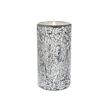 Everly Quinn Crackled Mosaic Unscented Flameless Candle Size: 6