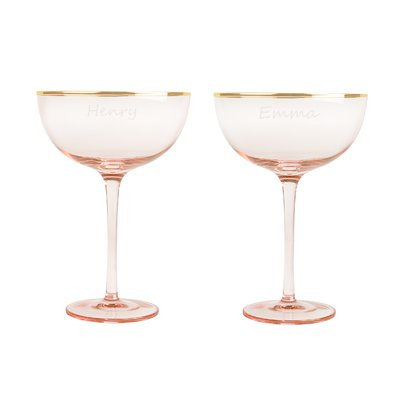 Cathys Concepts Personalized 8 Oz. Blush Rose Gilded Rim Coupe Flutes