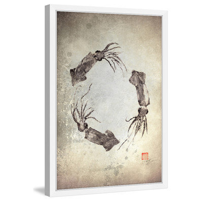 Marmont Hill Inc Marmont Hill - 'Squid Wreath' by Dwight Hwang Framed Painting Print
