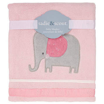 Babies R Us Sadie & Scout Little Meadow - Elephant Coral Fleece with Applique