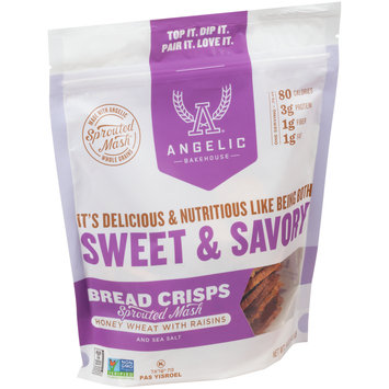 Angelic Bakehouse® Honey Wheat with Raisins and Sea Salt Sprouted Mash Bread Crisps 5 oz. Bag