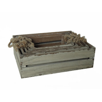 Cheung's 5 Piece Wooden Slatted Crate Set with Rope Handles, Basket, Wood, Brown, Set, Decorative