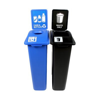 Busch Systems Waste Watcher Cans and Bottles Double 46 Gallon Recycling Bin and Trash Can Set Color: Blue/Black