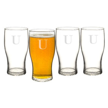 Alcott Hill Goldenberg 19 oz 4 Piece Beer Pilsner Glass Set Letter: U