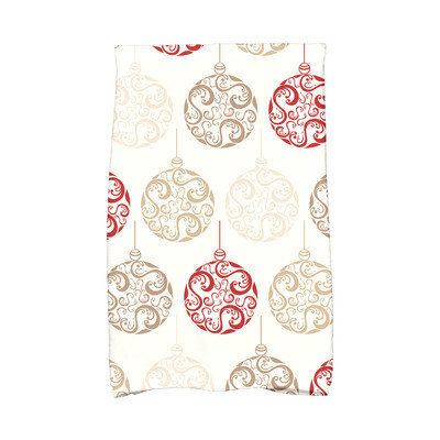 House Of Hampton Holiday Wishes Painterly Bulbs Hand Towel Color: Red/Brown/White