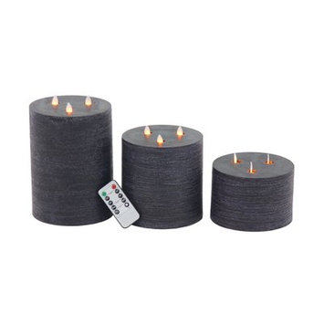 17 Stories 3 Piece Modern Wax and LED Flicker 3 Piece Flameless Candle Set Color: Black