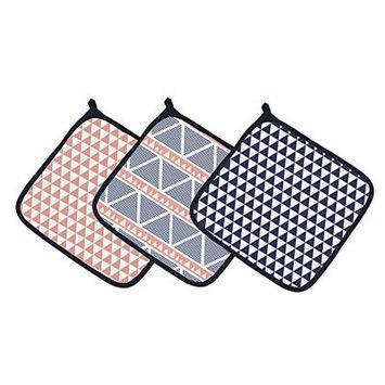 Bacati Emma Aztec Triangles Muslin 3 Piece Washcloth Set Color: Coral/Navy