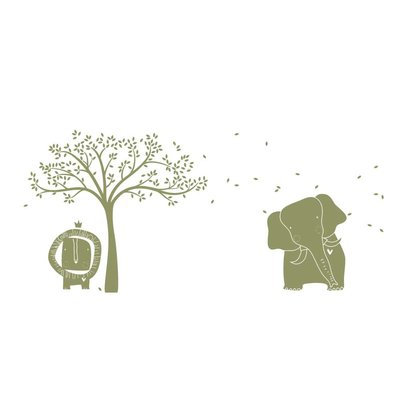 Littlelion Studio Baby Zoo Mural Monochromatic Wall Decal Color: Olive Green
