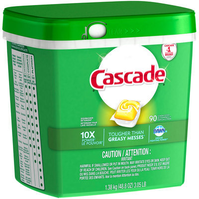 Cascade® Dawn® Lemon Scent Action Pacs™ Dishwasher Detergent 90 ct Plastic Container