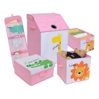 Zoomie Kids Kids Safari Fabric 5 Piece Underbed Storage Set Color: Pretty Pink