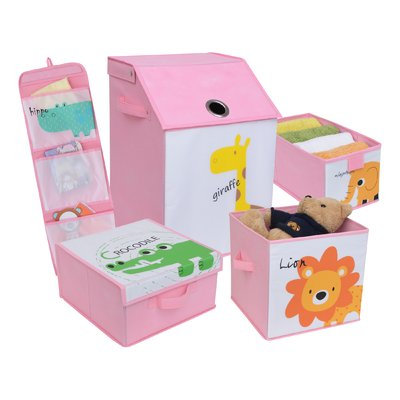 Zoomie Kids Kids Safari Fabric 5 Piece Underbed Storage Set Color: Pretty Pink