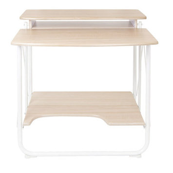 Offex Stow Away Home Office Folding Desk - White / Maple