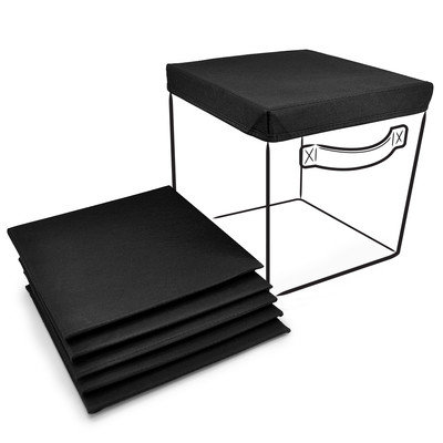 Ggi International Sorbus Foldable Storage Cube Basket Bin Covers, 6 Pack - Black