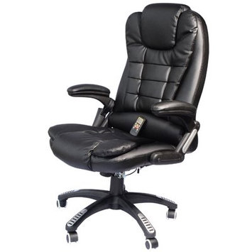 Andover Mills Whiting Faux Leather Heated Massage Chair Upholstery: Black