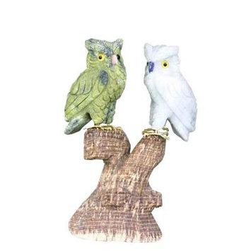 Novica Curious Owls Serpentine And Onyx Figurine