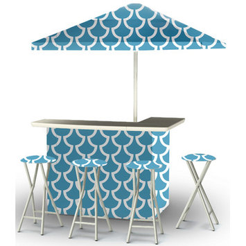 Best Of Times Llc Deluxe Fun with Fins Patio Bar and Tailgating Center with Umbrella and Stools - Water-Resistant and UV-Protected Polyester