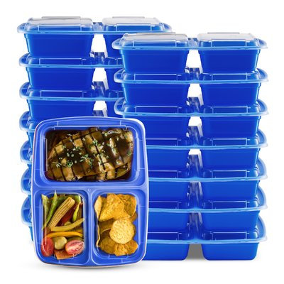 Rebrilliant 3 Compartment Food Storage Container Color: Blue