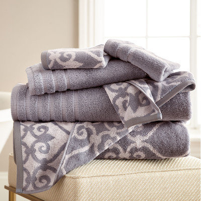 Alcott Hill Lattice Rod 6 Piece Towel Set Color: Ash Gray