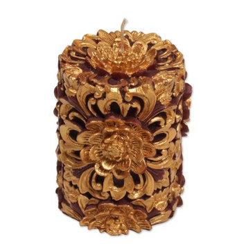 Novica Floral Pillar Candle Size: 3.9