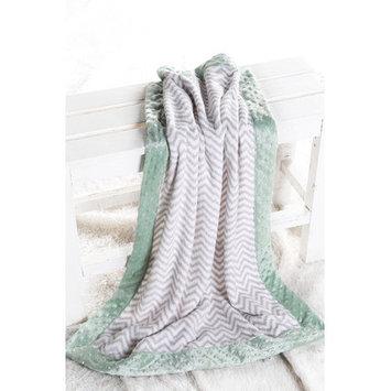 Harriet Bee Bairdstown Zigzag with Border Plush Blanket Color: Grey / Mint