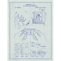 Inked And Screened Gaming 'WII VIDEO' Silk Screen Print Graphic Art in White Grid/Blue Ink