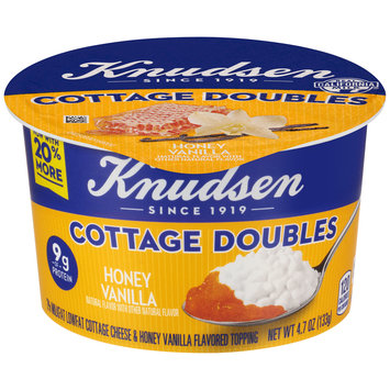 Knudsen Cottage Doubles Cottage Cheese & Honey Vanilla Topping 4.7 oz. Tub
