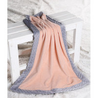 Harriet Bee Bakker Solid with Border Plush Blanket Color: Coral / Grey