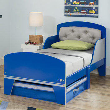Delta Children Jack and Jill Toddler Panel Bed with Under the Bed Storage, Blue