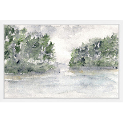 Marmont Hill Inc Marmont Hill - 'Rainy Lake Landscape' by Thimble Sparrow Framed Painting Print