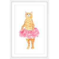 Marmont Hill Inc Marmont Hill - 'Ballerina Cat' by Thimble Sparrow Framed Painting Print