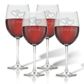 Carved Solutions Love Kiss Hug Adore 4 Piece 8 oz. All Purpose Wine Glass Set