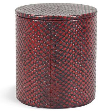 Brayden Studio Wendy Genuine Leather Round Storage Container Color: Red Mamba