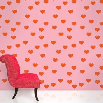 Wall Candy Arts WallCandy Arts Removable Wallpaper (Hearts Red/Pink) - Full Kit